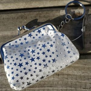 Star Coin Purse Keychain in White NEW
